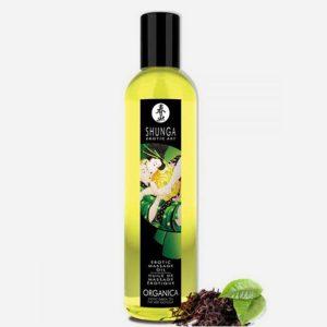 Huile de massage aphrodisiaque bio Shunga-Thé vert