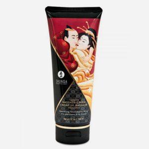 crème hydrante de massage shunga fraise et vin pétillant