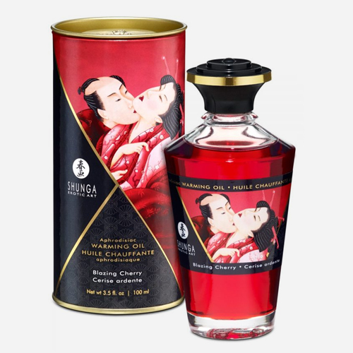 huile de massage aphrodisiaque cerise shunga chauffante et comestible