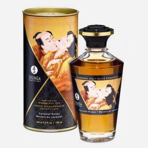huile de massage aphrodisiaque shunga caramel chauffante et comestible