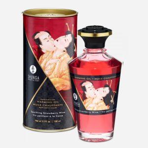 huile de massage aphrodisiaque vin pétillant fraise shunga chauffante et comestible