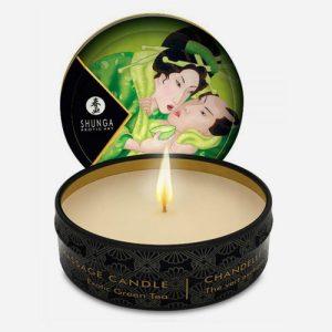 mini bougie de massage shunga au thé vert